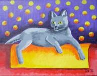 "Minu the Teenage Kitten Number Two, Diane Dyal, Acrylic, 11""x14"", 2012"