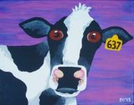 "Moo Cow, Diane Dyal, Acrylic, 11""x14"", 2013"