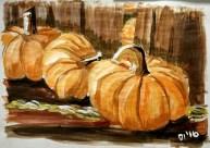 "Pumpkin Still Life, Diane Dyal, Acrylic, 12""x16"", 2016"
