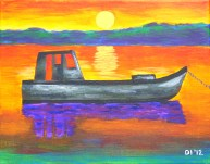 "Wakulla Sunset Oyster Boat, Diane Dyal, Acrylic, 11""x14"", 2012"