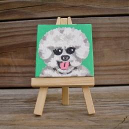 "Mini Bijon Frise by Diane Dyal copyrighted 2-1/2"" square"