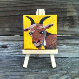"""Mini Goat by Diane Dyal copyrighted 2-1/2"""" square"""