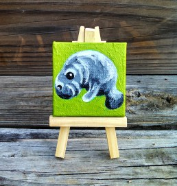 """Mini Manatee by Diane Dyal copyrighted 2-1/2"""" square"""