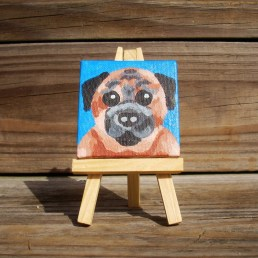 """Mini Pug by Diane Dyal copyrighted 2-1/2"""" square"""