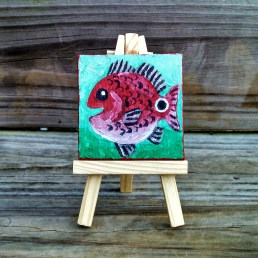 """Mini Redfish by Diane Dyal copyrighted 2-1/2"""" square"""