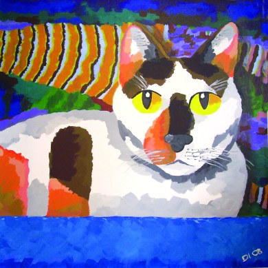 "Calli Cat in the Tub by Diane Dyal, 30""x30"" Acrylic, Custom Pet Portrait"