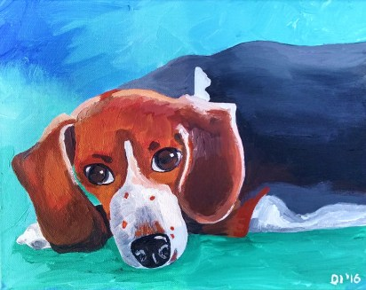 "Famous Chillin' by Diane Dyal, 11""x14"" Acrylic, Custom Pet Portrait"