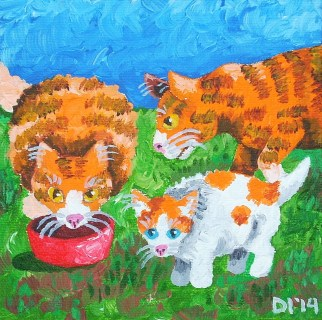 "The Citrus Family Eats Lunch by Diane Dyal, 5""x5"" Acrylic, Custom Pet Portrait"