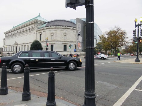President Obama presidential limousine and motorcade leaving the White House, Dec. 9, 2015 Photo © 2015 Diane Joy Schmidt