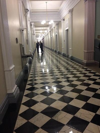 Tete-a-tete in the White House Eisenhower hallway: Steve Rabinowitz on right. Photo © 2015 Diane Joy Schmidt