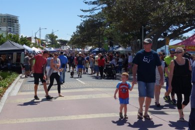 Redcliffe Sunday market on Redcliffe Parade.