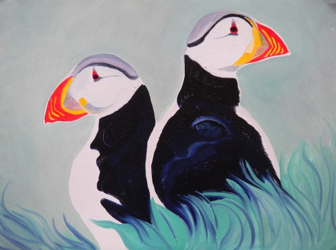Puffin Problems Faroe Islands 18x24
