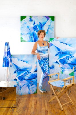 A-Blue-Coversation-36x48-reprinted-evening-gown,-lamp-shade,-chair-and-giclee