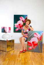 Pretty-in-Pink-Peony-48x36,-reprinted-dress,-lamp-shade,-chair-and-giclee