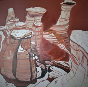 Hoodoos 36x36 Mixed media Drumheller Alberta