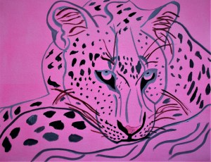 Sketch A Lying Leopard 18x24 Mixed media Botswana
