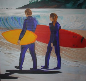 Surfs Up 36x36 Mixed media Tofino British Columbia