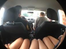 Backseat of legs.