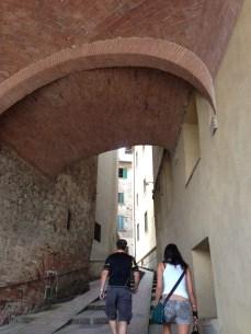 walking up Montepulciano!
