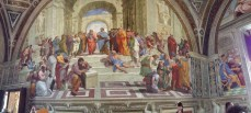 School of Athens Frescoe on the wall by Raphael.