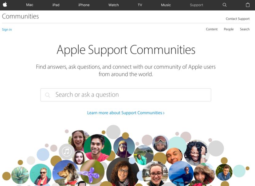 Screenshot of Apple's Support Online Community