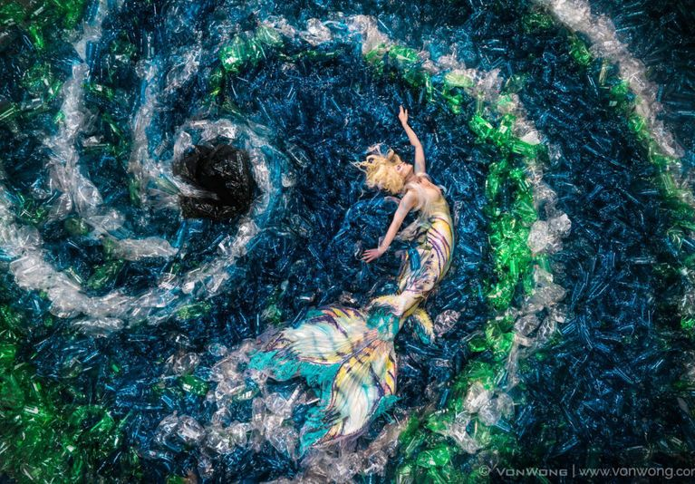 Ocean Pollution Illustrated By Mermaid Photography
