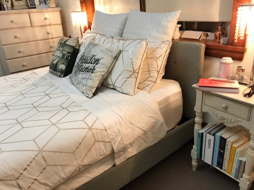 I am OCD about having a well-made bed. This set is from Target 2016. I love the hexagonal rose gold pattern, and the 1000 thread count sheets.