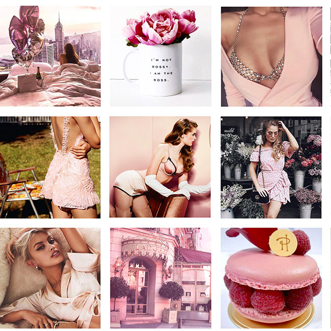 Design of a pink themed Instagram feed