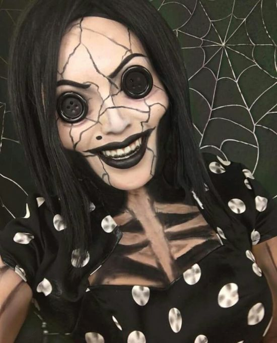 Coraline creepy doll makeup up for halloween via pinterest