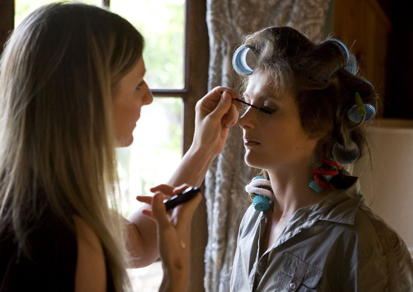 Me at work on a bride in country Victoria. The bride wanted as very natural look.