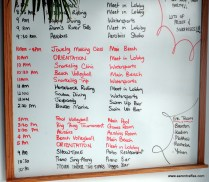 Thursday's activity board at Couples Tower Isle