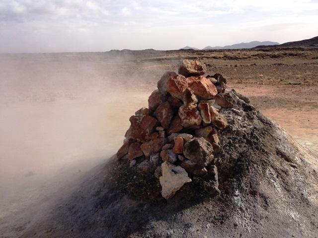Steaming sulfuric rocks