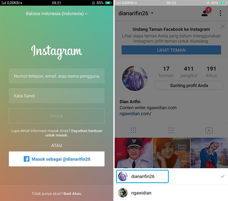 Login Banyak Akun Instagram