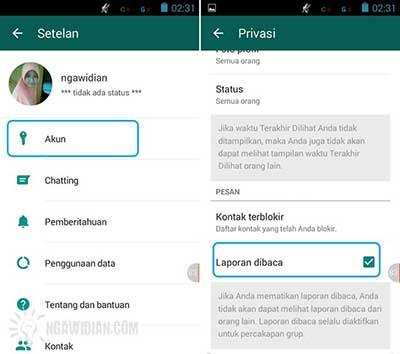Menghilangkan Tanda Ceklis Biru di WhatsApp 3