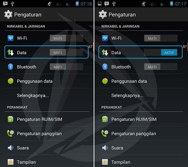 Mengaktifkan Data Internet Android