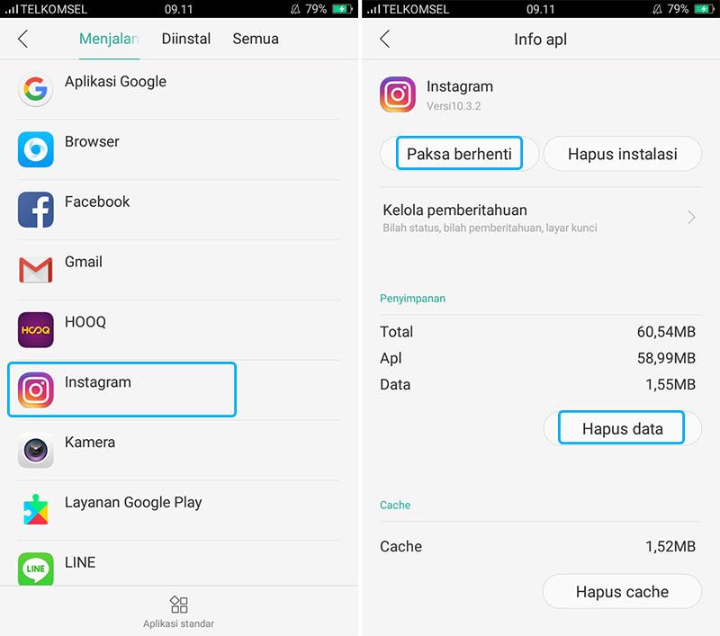 Hapus Data Aplikasi Instagram