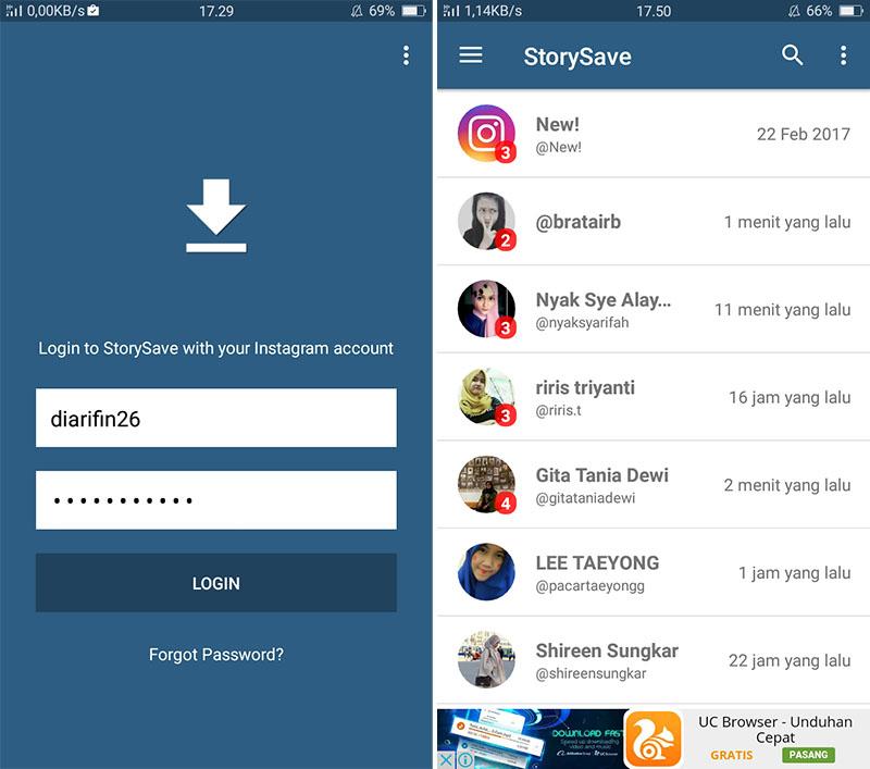 Login Aplikasi StorySave