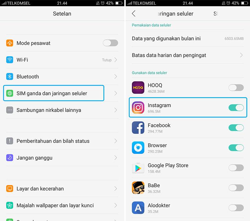 Matikan Data Seluler Pada Aplikasi