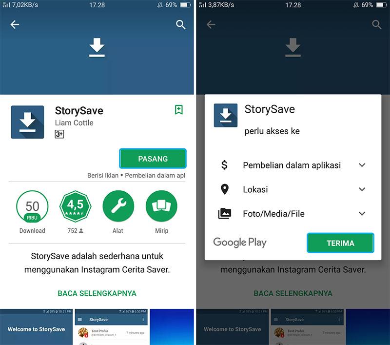 Unduh dan Install Aplikasi StorySave