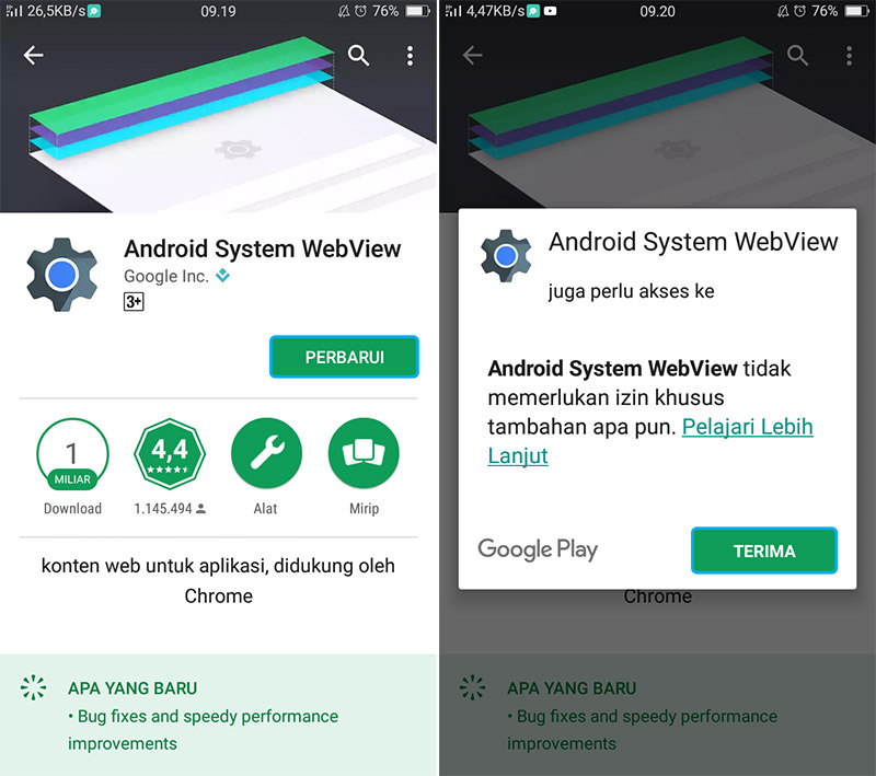 Update Android System WebView
