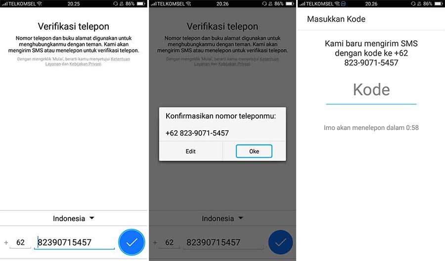 Cara Buat Akun IMO di Android