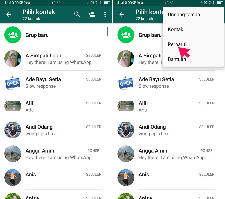 Perbarui Kontak di WhatsApp