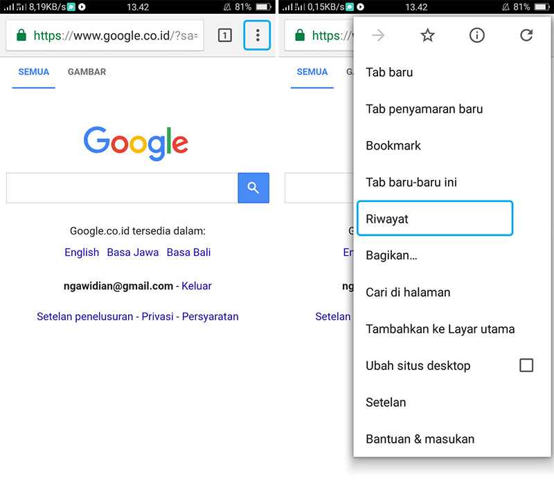 Hapus Cache Google Chrome Android