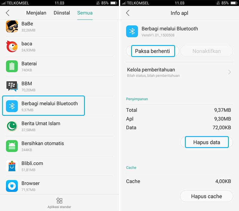 Hapus Data Aplikasi Bluetooth