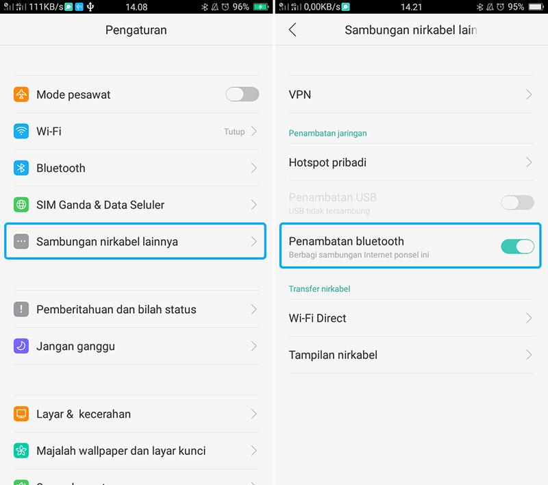 Pilih Perambatan Bluetooth