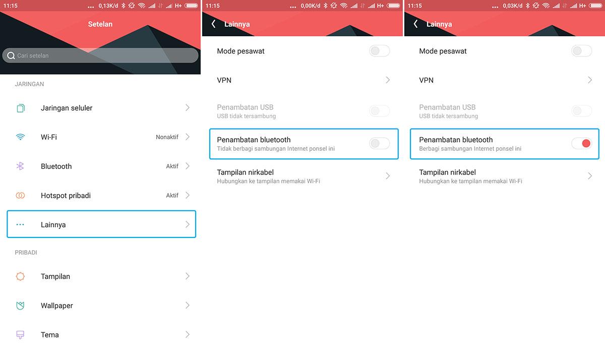 Aktifkan Penambatan Bluetooth