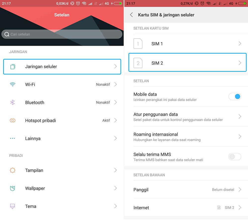 Mengubah Jaringan 4G LTE di Xiaomi