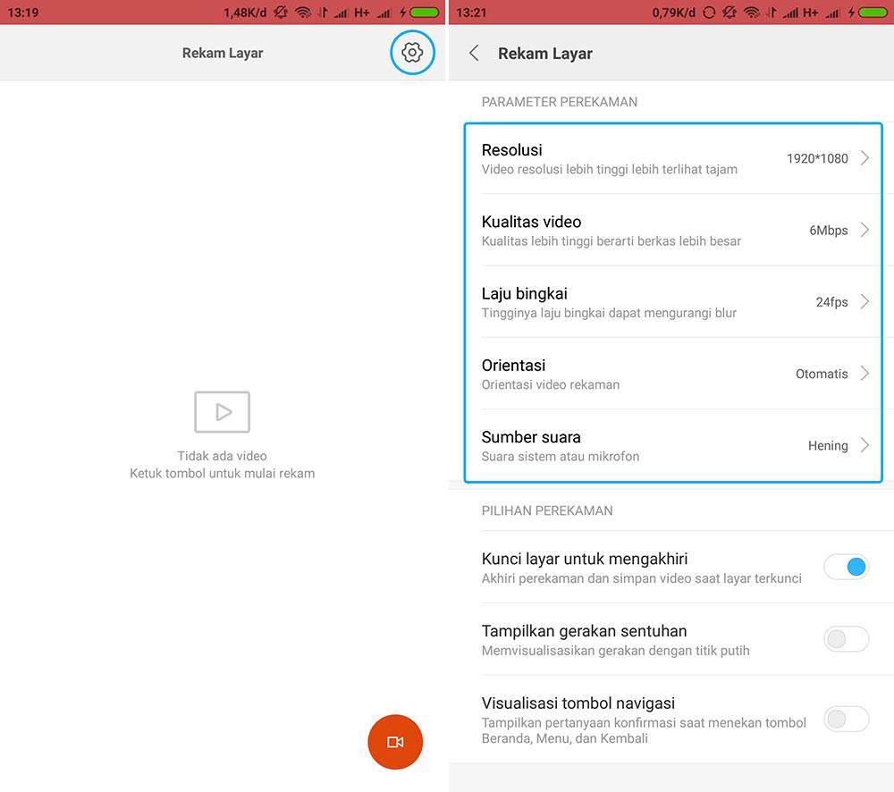 Setting Rekam Layar di Xiaomi