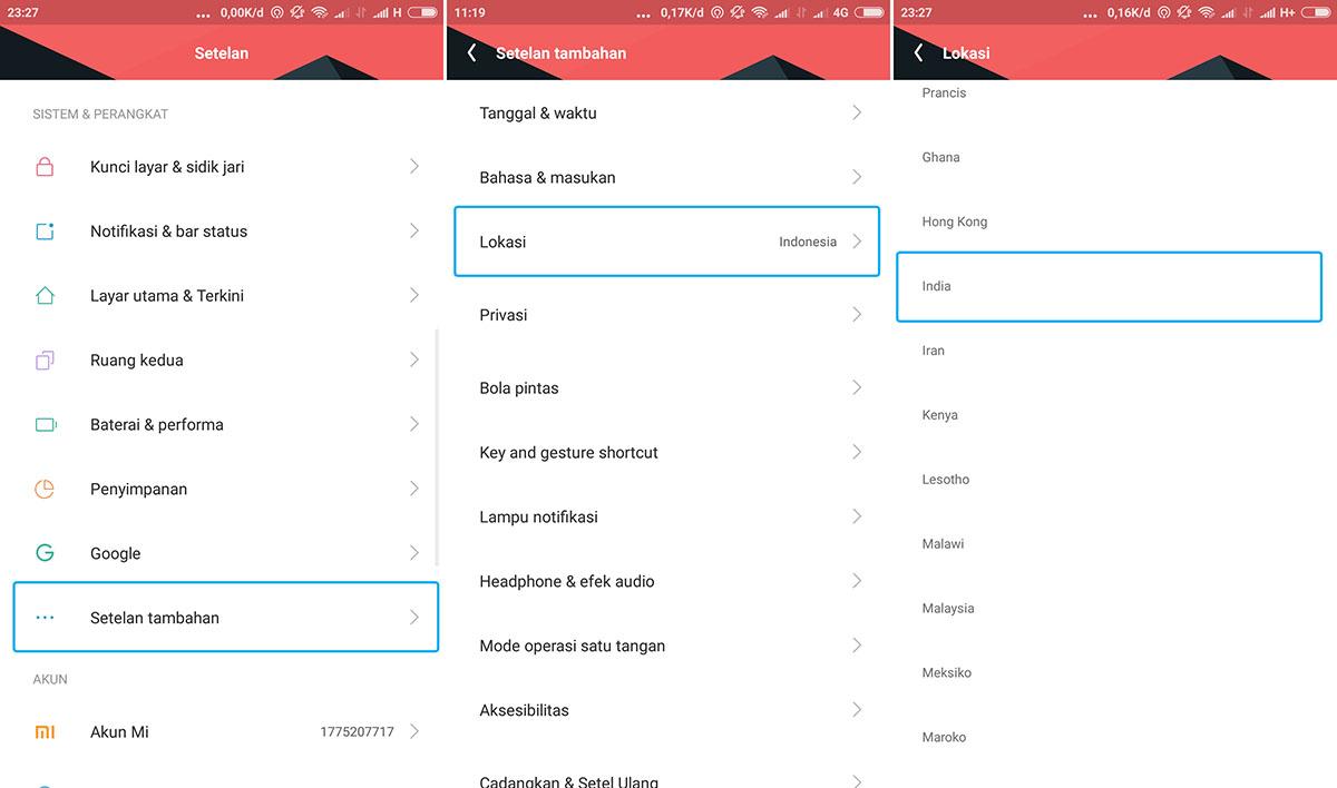 Ubah Setelan Lokasi Xiaomi