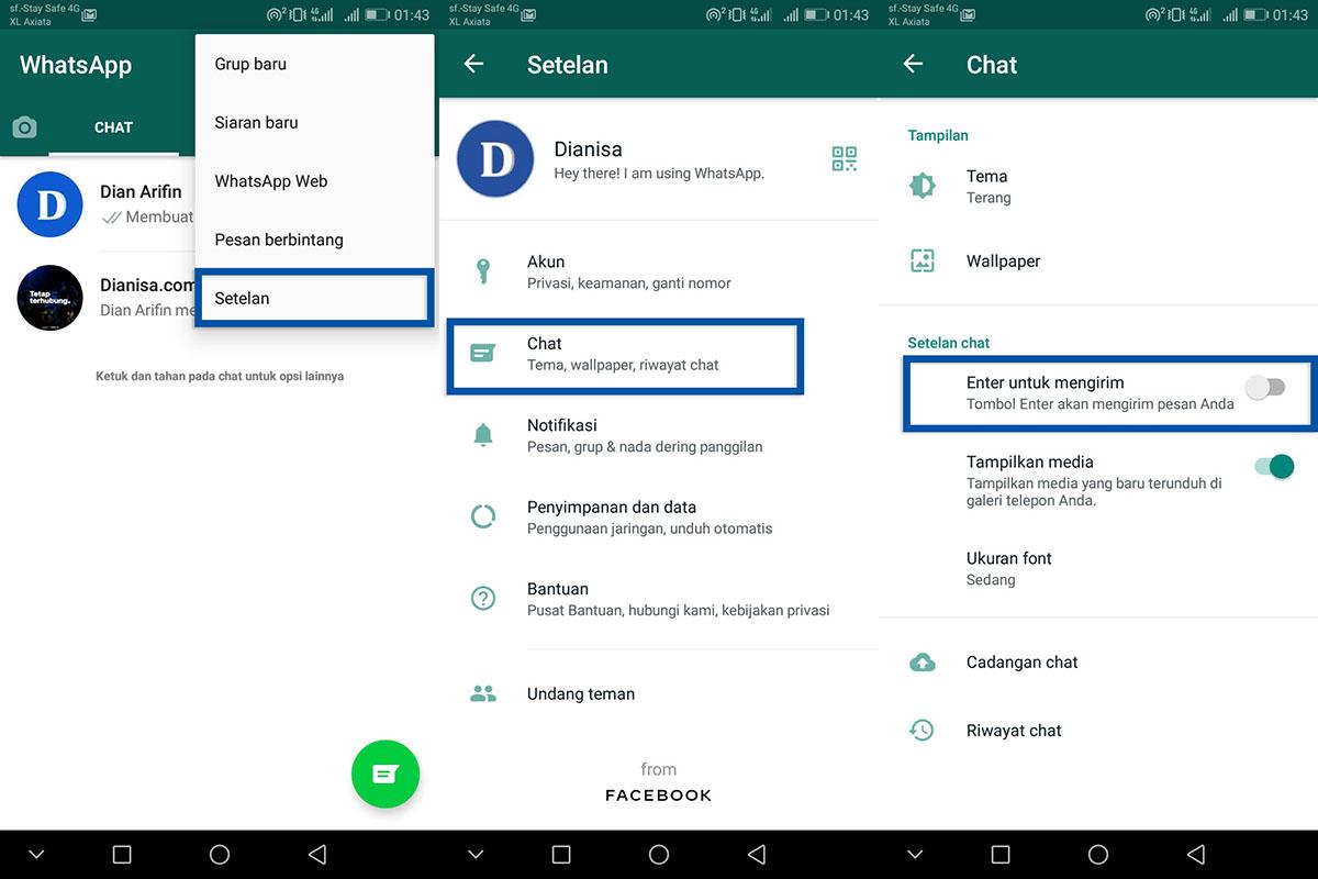 Mematikan fitur Tekan enter untuk mengirim pesan WhatsApp